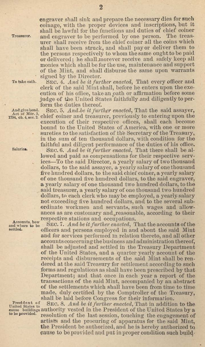 Historic Legislation: Coinage Act 1792, Page 2