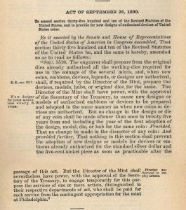 Historic Legislation, September 26, 1890. Full text is duplicated in the body of this page.