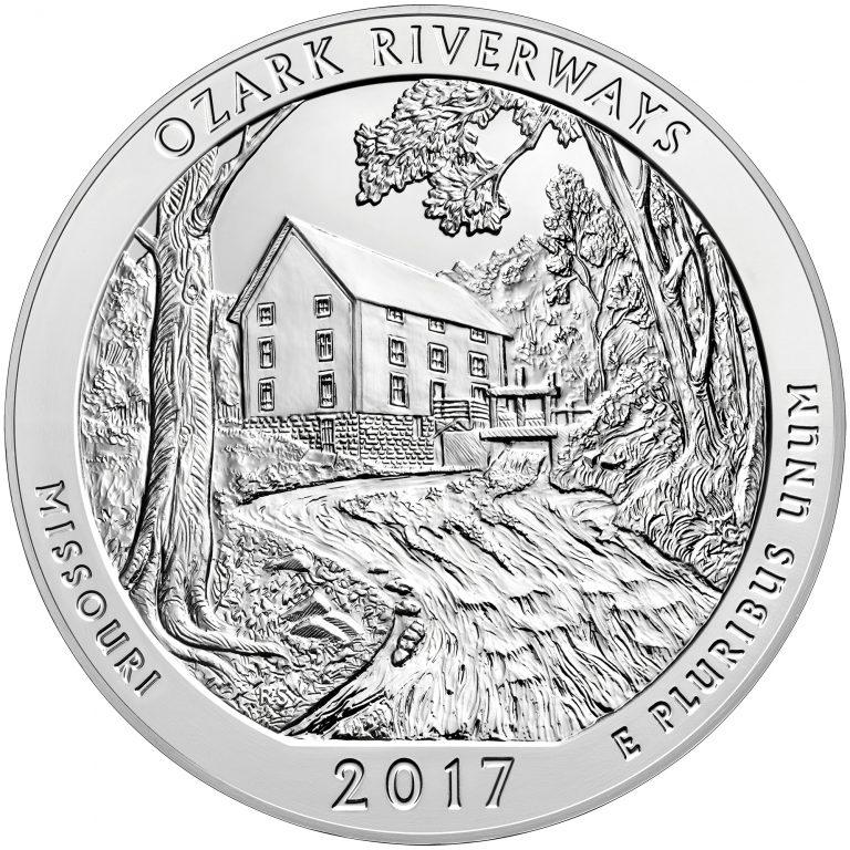 2017 America the Beautiful Quarters Five Ounce Silver Bullion Coin Ozark Riverways Missouri Reverse