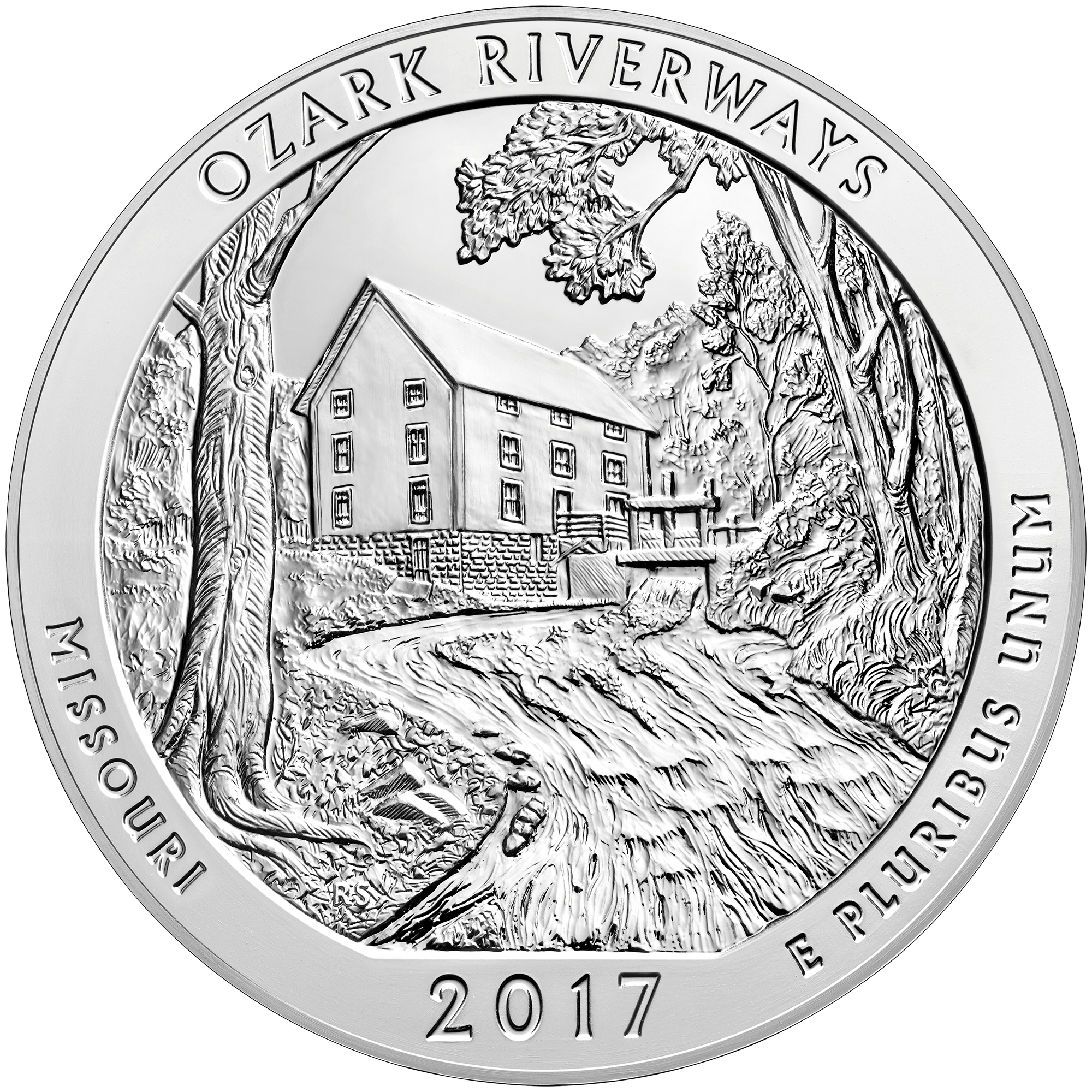 2017 America the Beautiful Quarters Five Ounce Silver Bullion Coin Ozark Riverways Missouri Reverse
