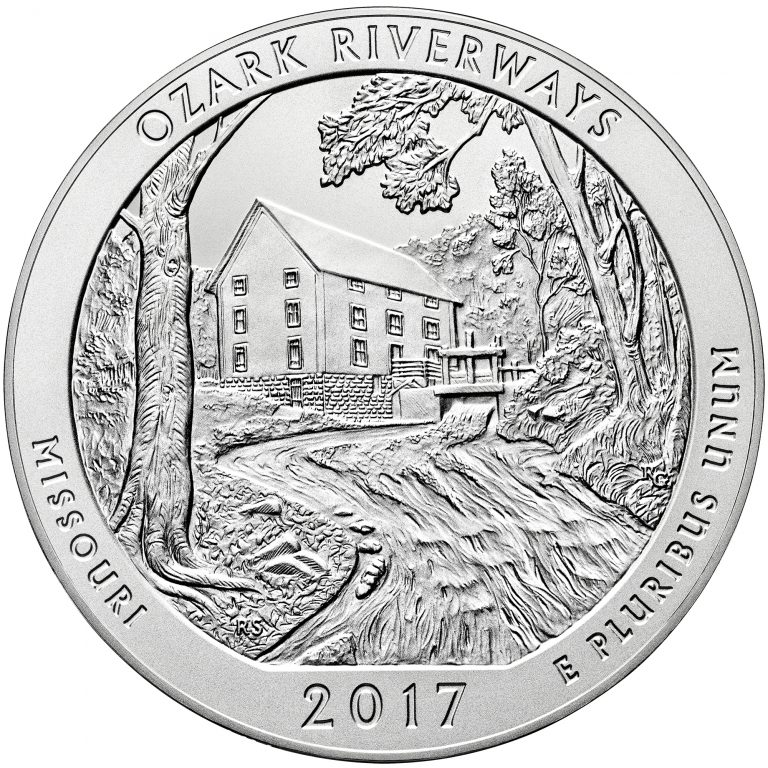 2017 America the Beautiful Quarters Five Ounce Silver Uncirculated Coin Ozark Riverways Missouri Reverse