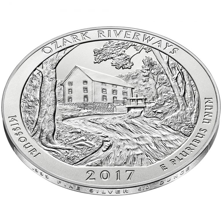 2017 America the Beautiful Quarters Five Ounce Silver Uncirculated Coin Ozark Riverways Missouri Reverse Angle