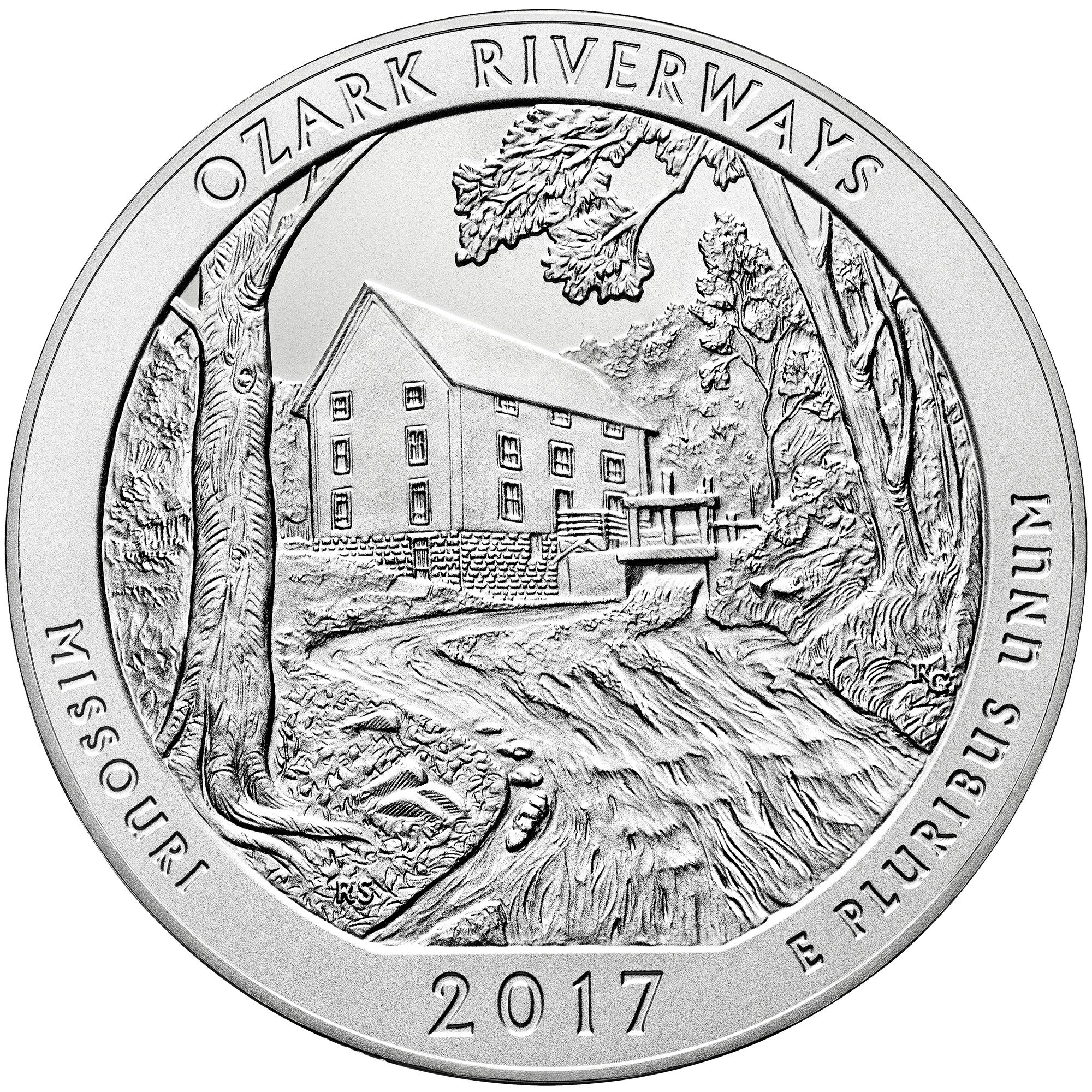 2017 America the Beautiful Quarters Five Ounce Silver Uncirculated Coin Ozark Riverways Missouri Reverse