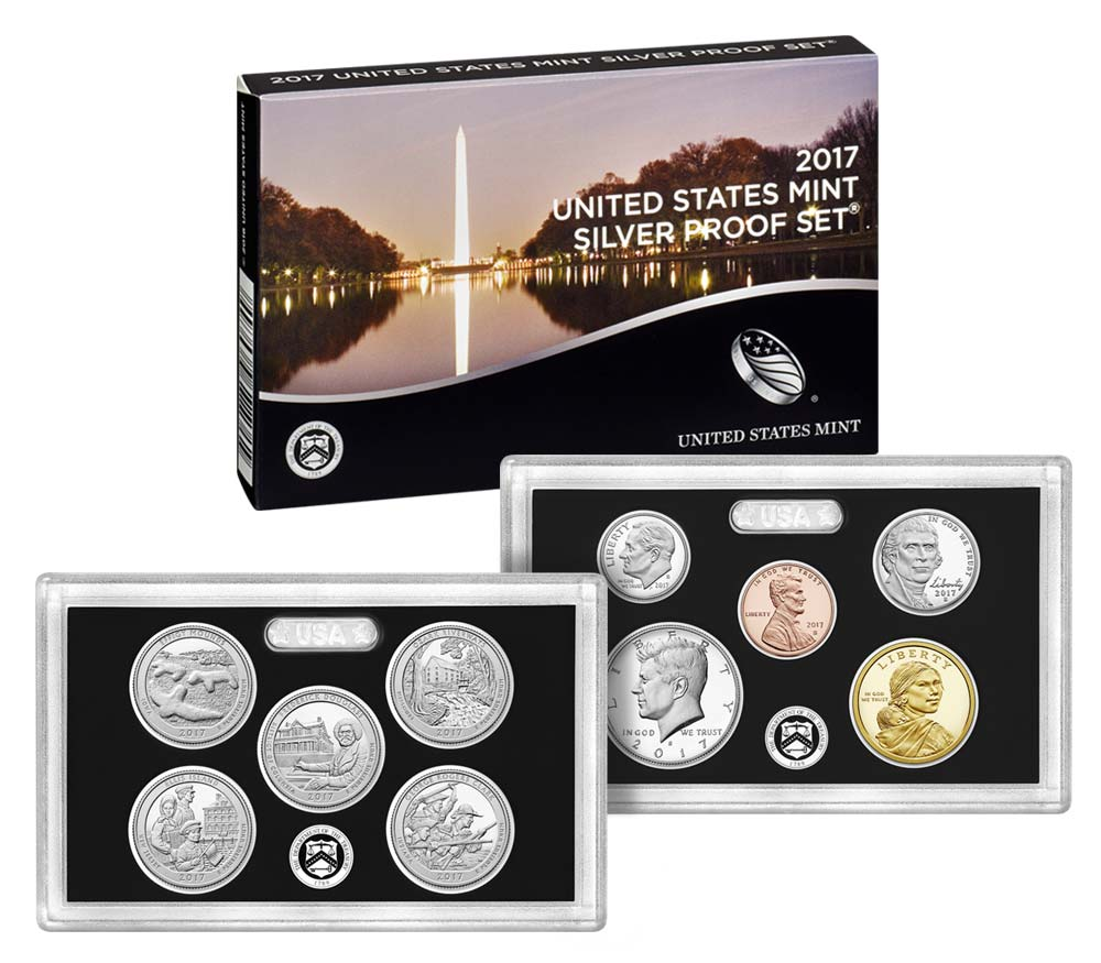 2017 Silver Proof Set coins and packaging