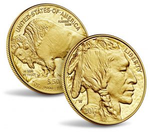 Obverse and reverse of the American Buffalo Gold Coin