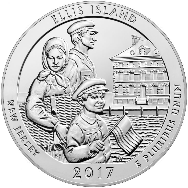 2017 America the Beautiful Quarters Five Ounce Silver Bullion Coin Ellis Island New Jersey Reverse