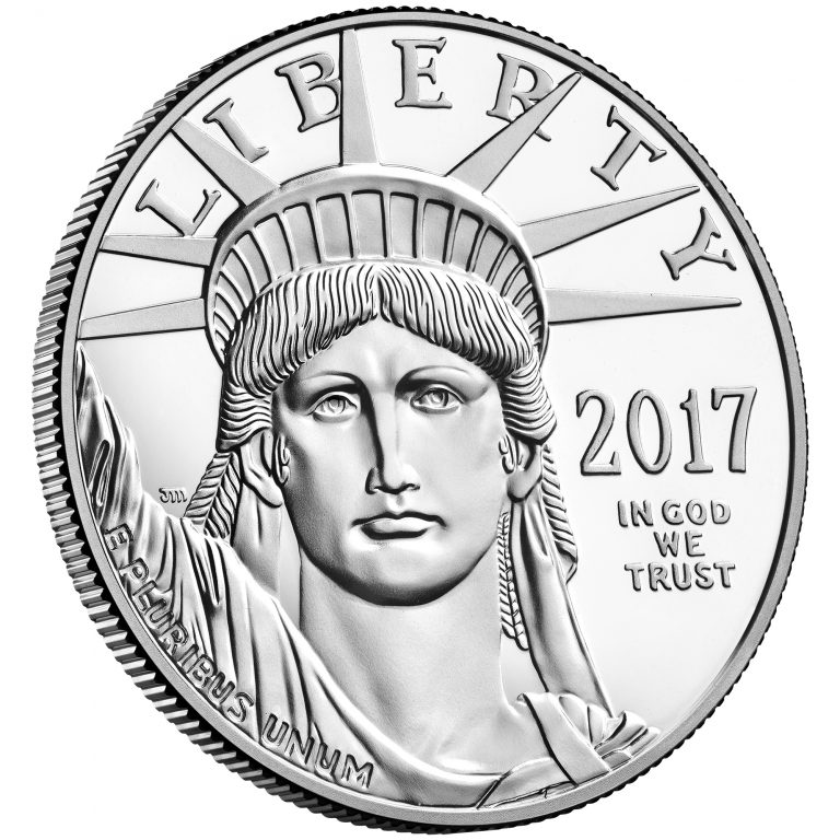 2017 American Eagle Platinum One Ounce Proof Coin Obverse Angle