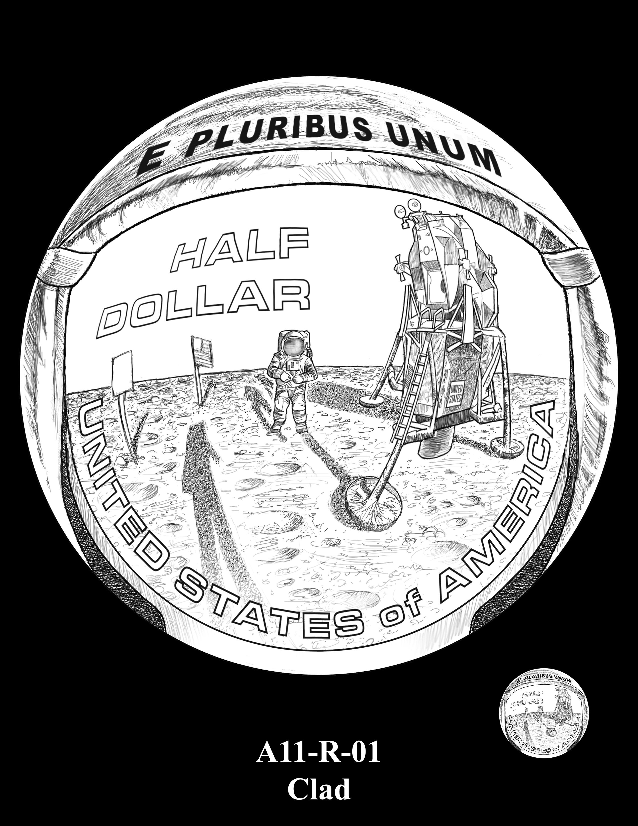 A11-R-01-CLAD -- 2019-Apollo 11 50th Anniversary Commemorative Coin