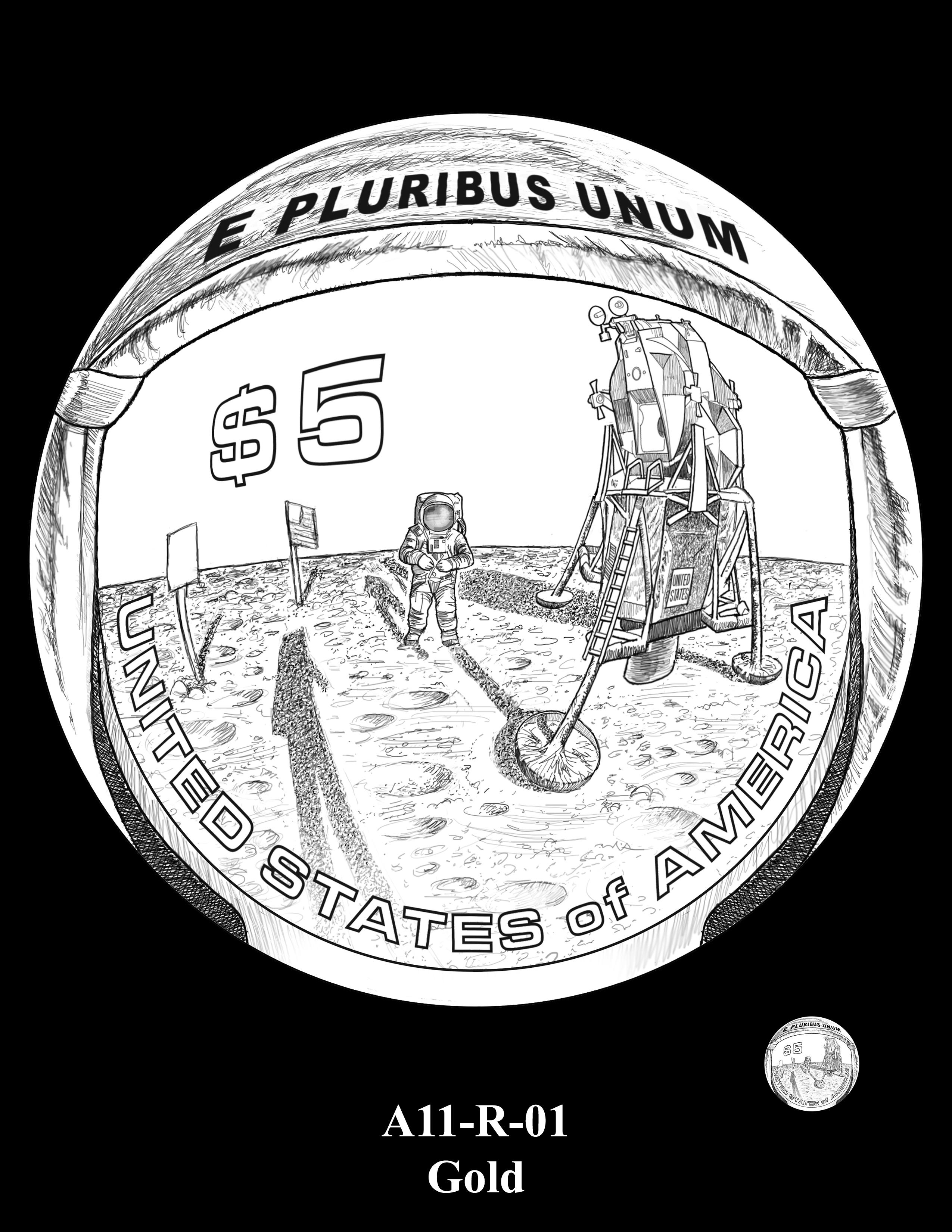 A11-R-01-GOLD -- 2019-Apollo 11 50th Anniversary Commemorative Coin