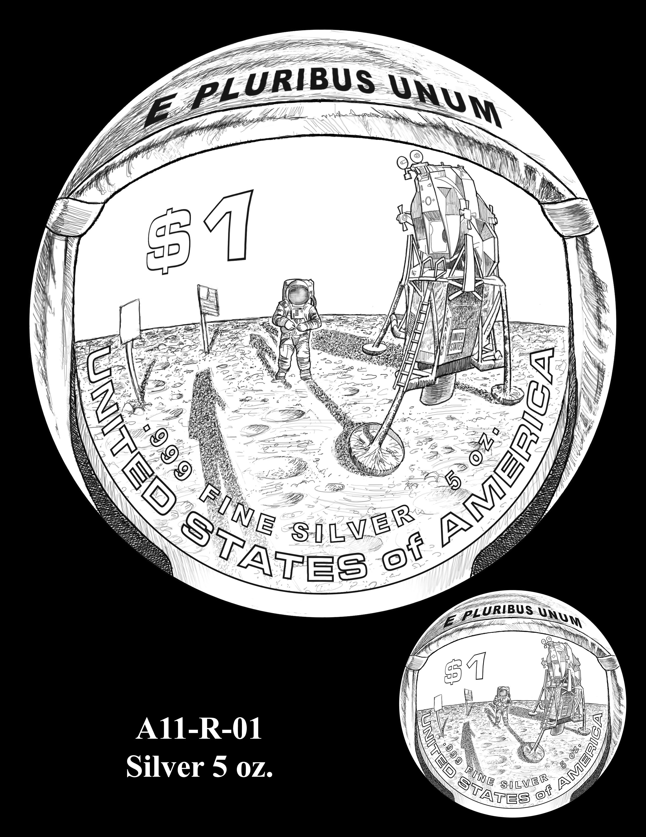 A11-R-01-SILVER-5oz. -- 2019-Apollo 11 50th Anniversary Commemorative Coin