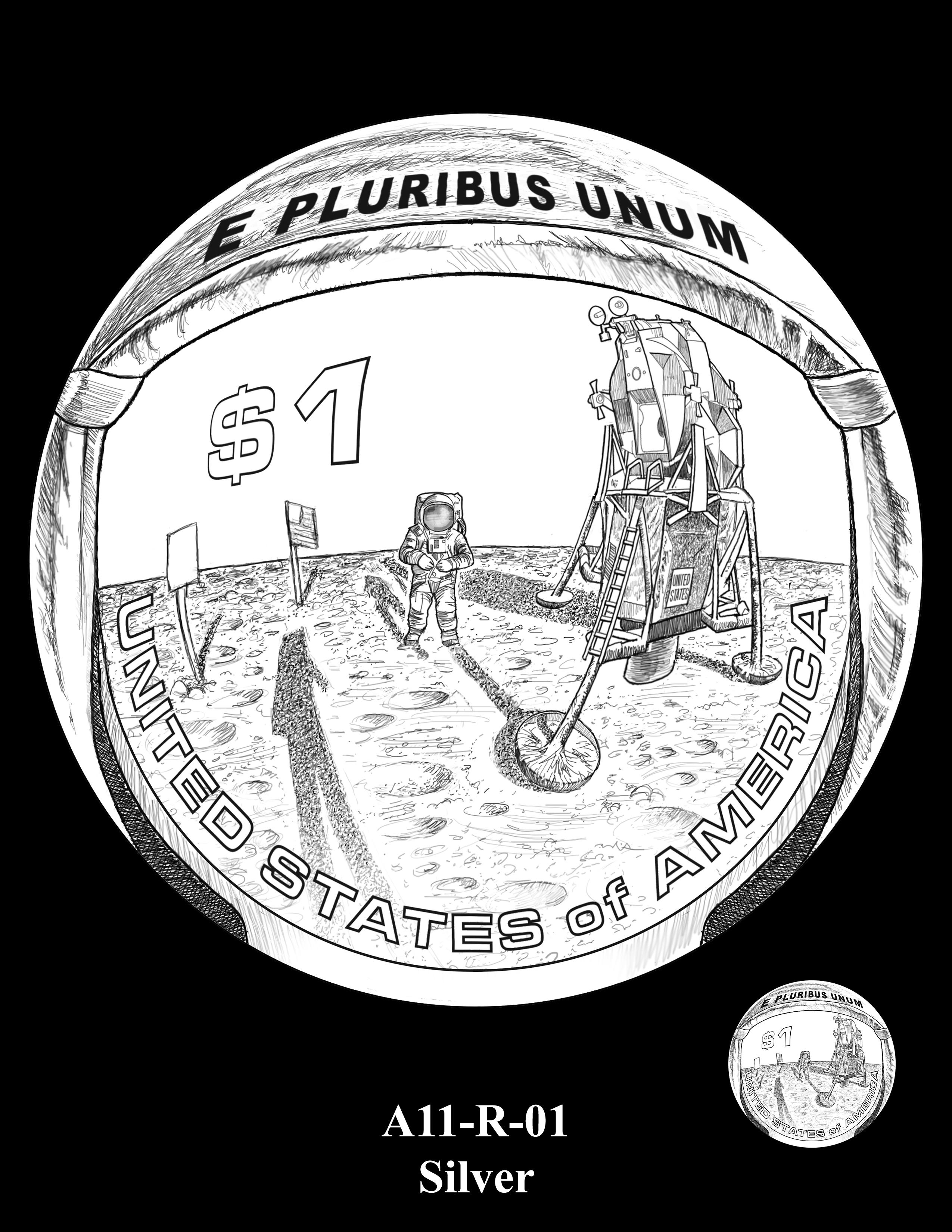 A11-R-01-SILVER -- 2019-Apollo 11 50th Anniversary Commemorative Coin
