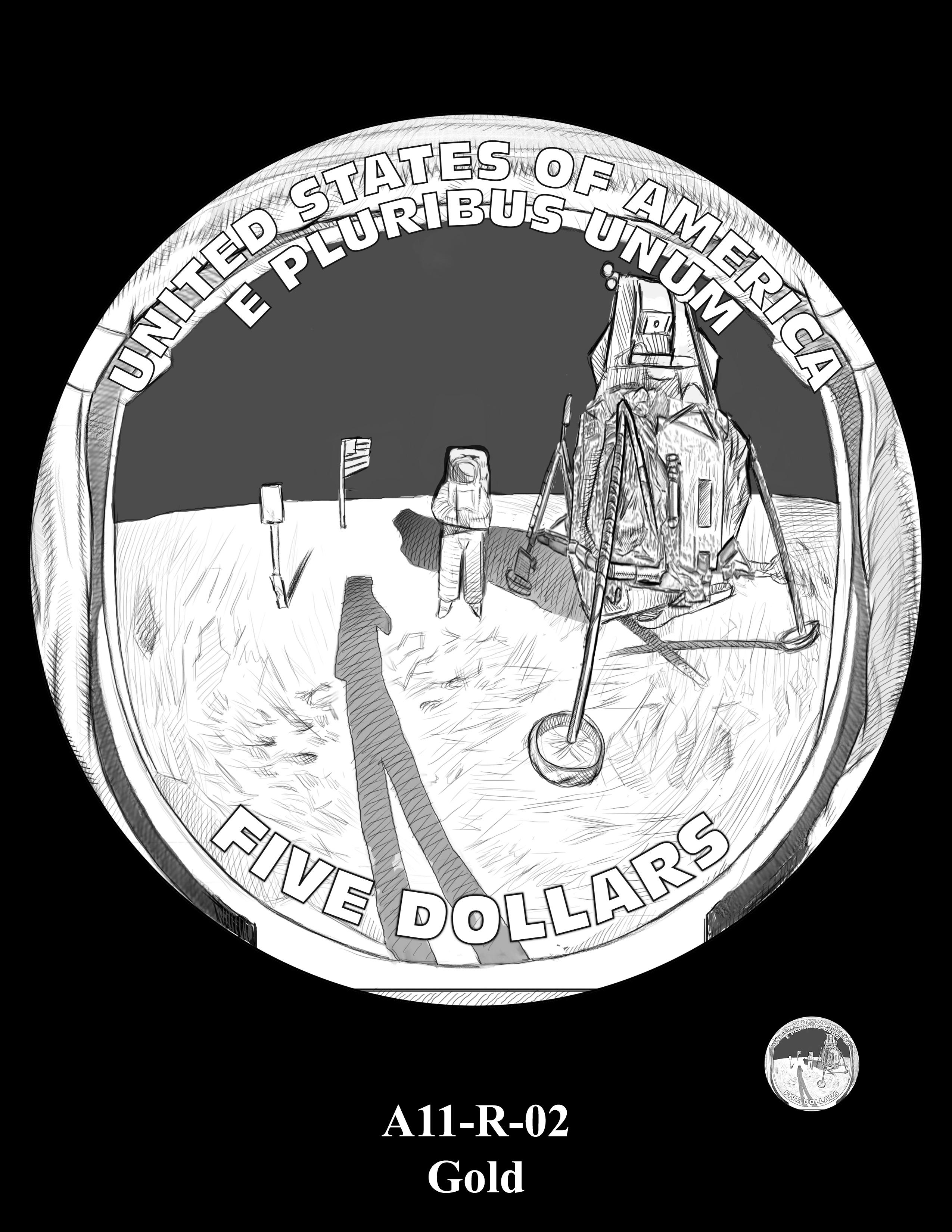 A11-R-02-GOLD -- 2019-Apollo 11 50th Anniversary Commemorative Coin
