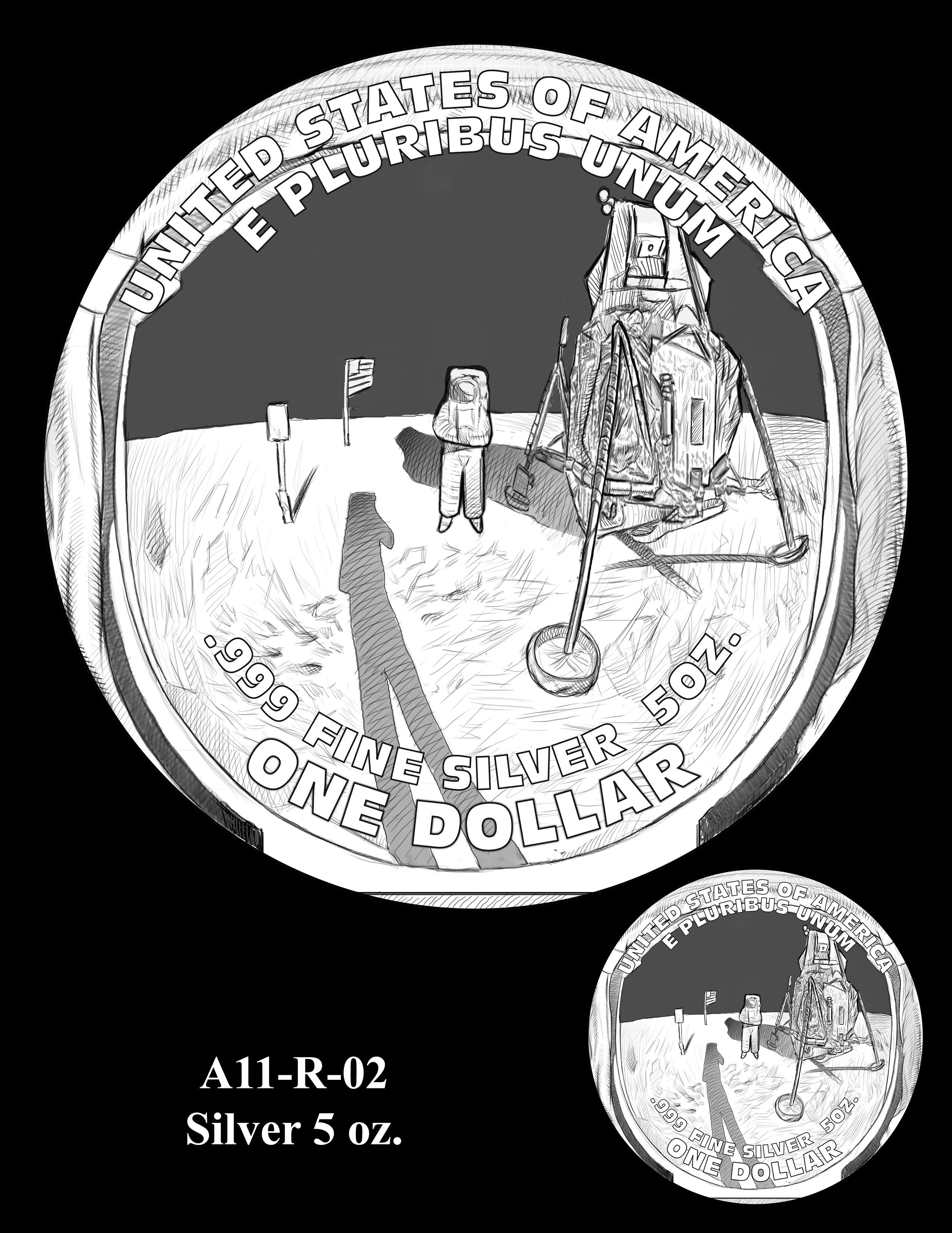 A11-R-02-SILVER-5oz. -- 2019-Apollo 11 50th Anniversary Commemorative Coin
