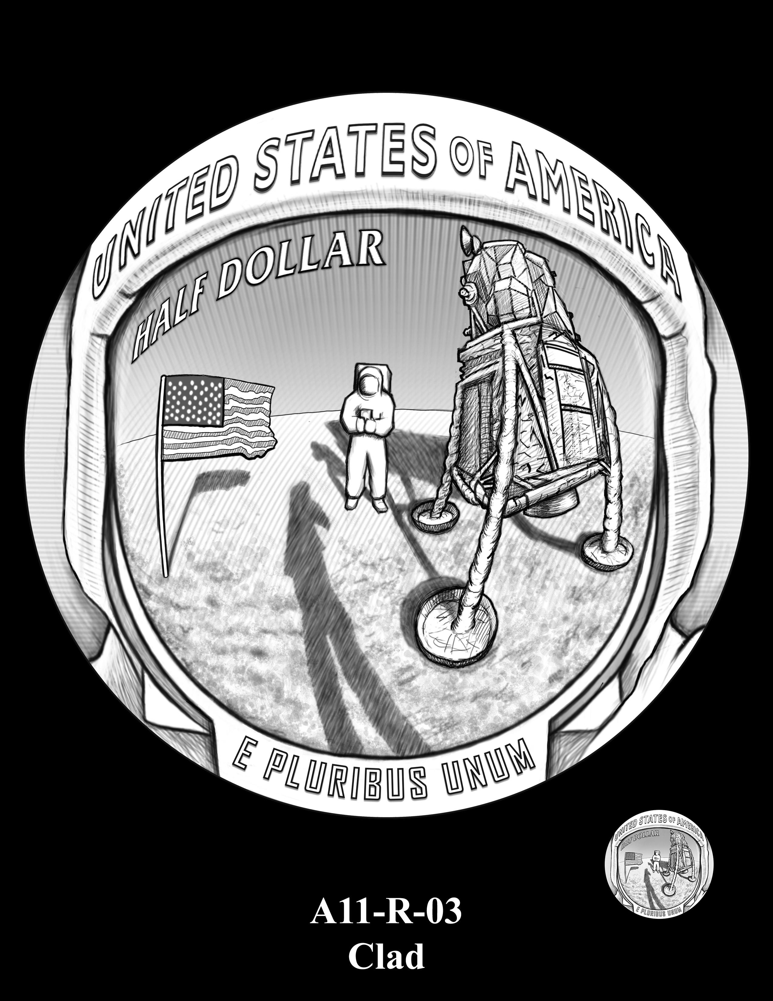 A11-R-03-CLAD -- 2019-Apollo 11 50th Anniversary Commemorative Coin