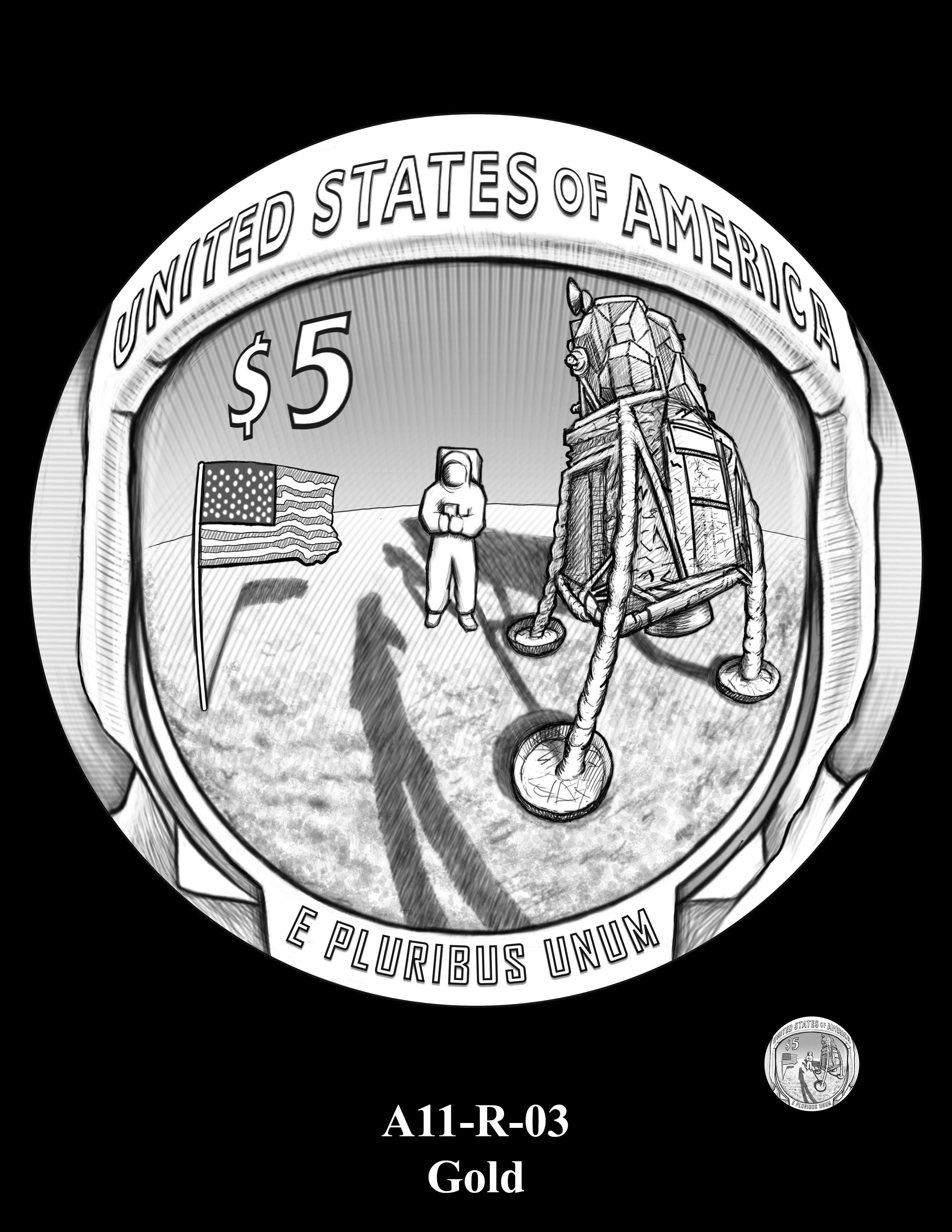 A11-R-03-GOLD -- 2019-Apollo 11 50th Anniversary Commemorative Coin