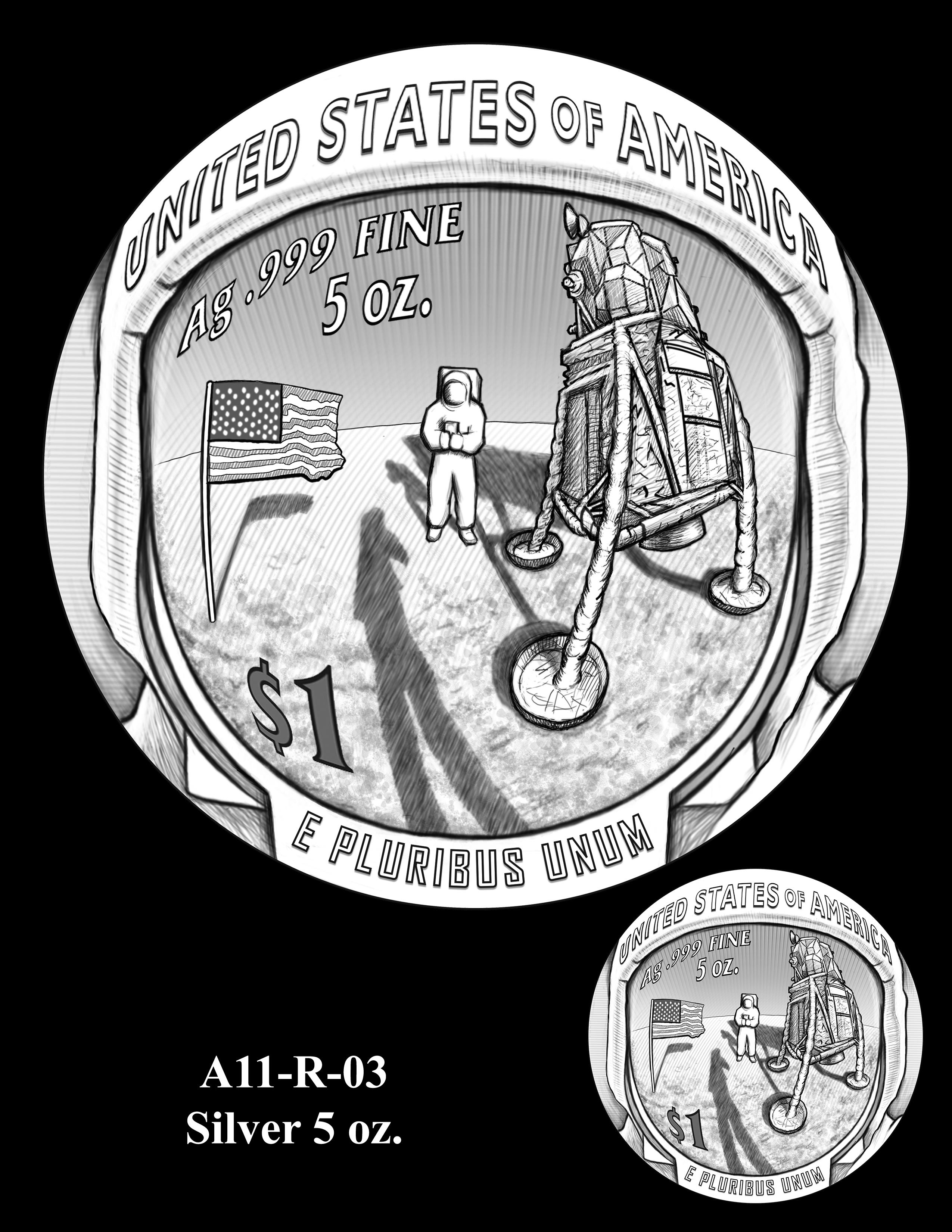 A11-R-03-SILVER-5oz. -- 2019-Apollo 11 50th Anniversary Commemorative Coin