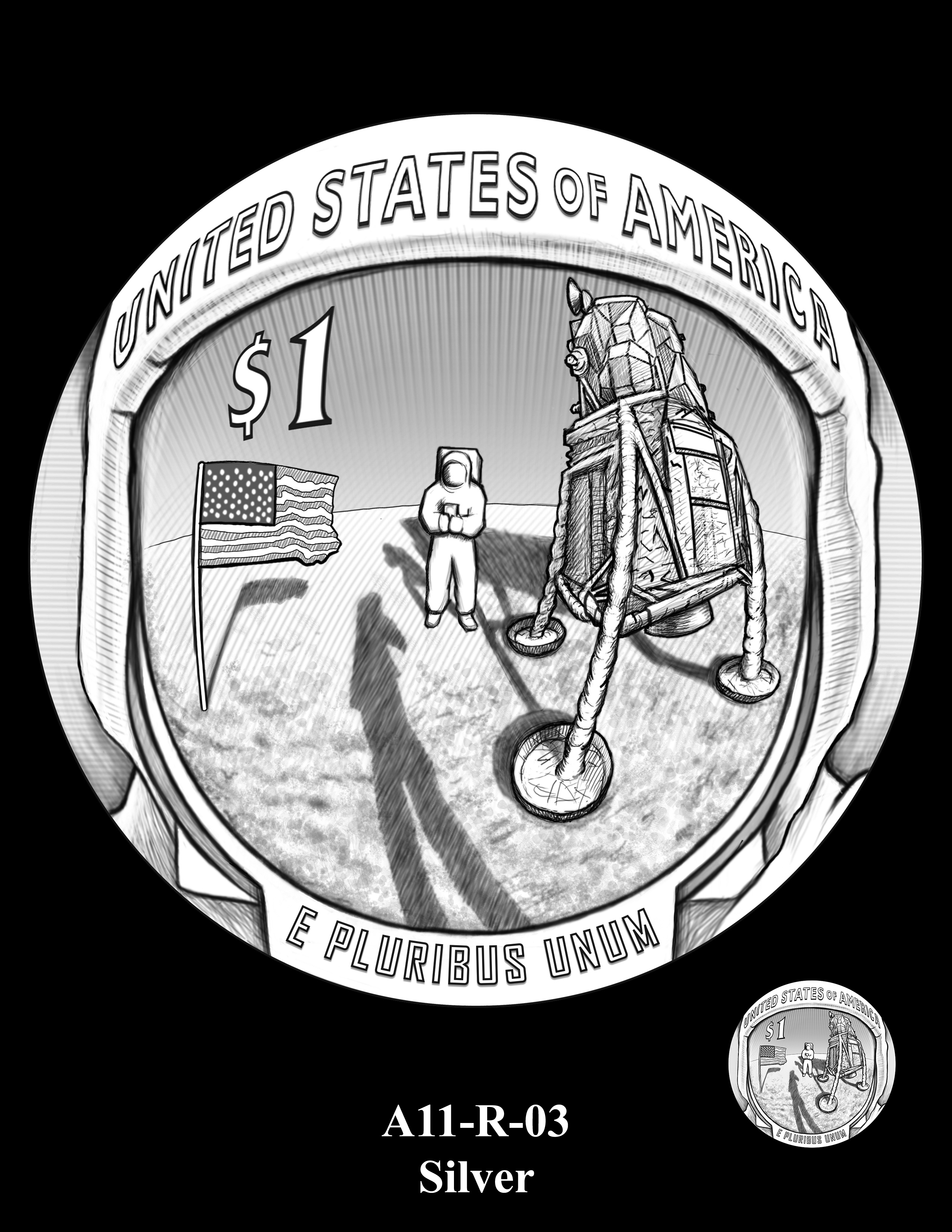 A11-R-03-SILVER -- 2019-Apollo 11 50th Anniversary Commemorative Coin