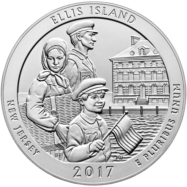 2017 America the Beautiful Quarters Five Ounce Silver Uncirculated Coin Ellis Island New Jersey Reverse