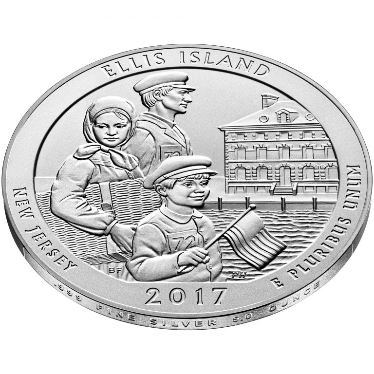2017 America the Beautiful Quarters Five Ounce Silver Uncirculated Coin Ellis Island New Jersey Reverse Angle