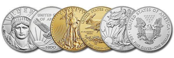 american eagle platinum, gold, and silver coins