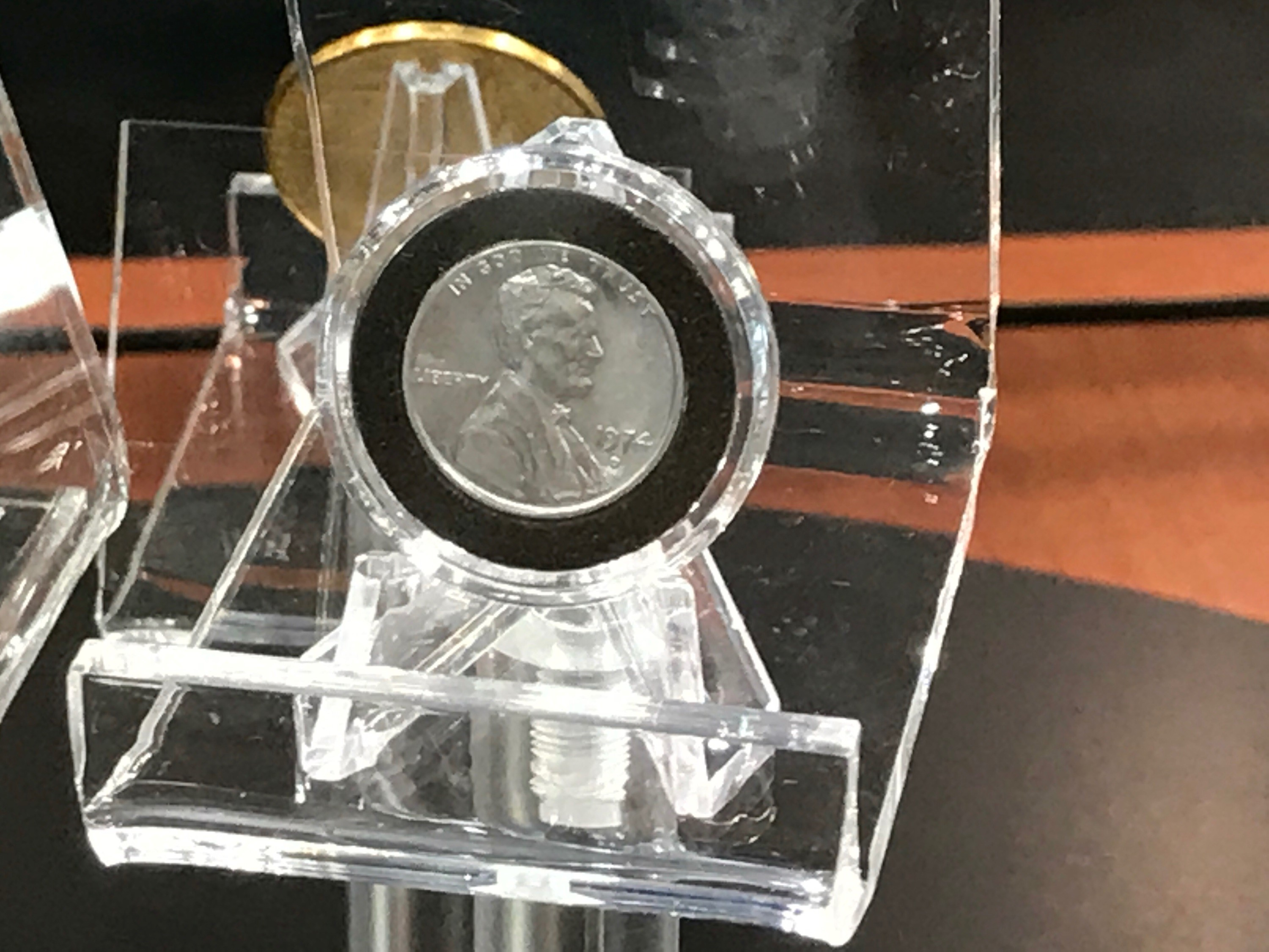 The 1974-D Aluminum Cent on display. U.S. Mint photo by Debbie Dawson.