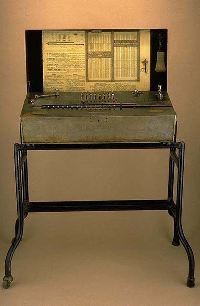Millionaire Calculating Machine in its case. Photo credit: National Museum of American History.