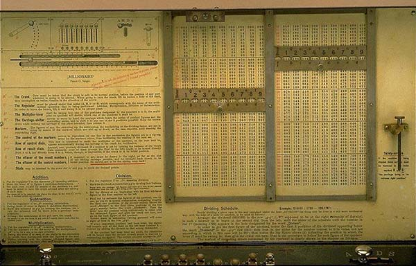 Instructions for the Millionaire Calculating Machine. Photo credit: National Museum of American History.