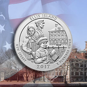 america the beautiful uncirculated 5 ounce silver coin - background u.s. flag, ellis island