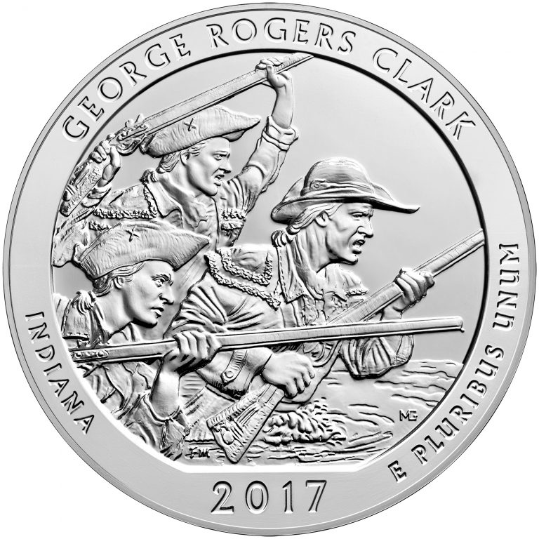 2017 America the Beautiful Quarters Five Ounce Silver Bullion Coin George Rogers Clark Indiana Reverse