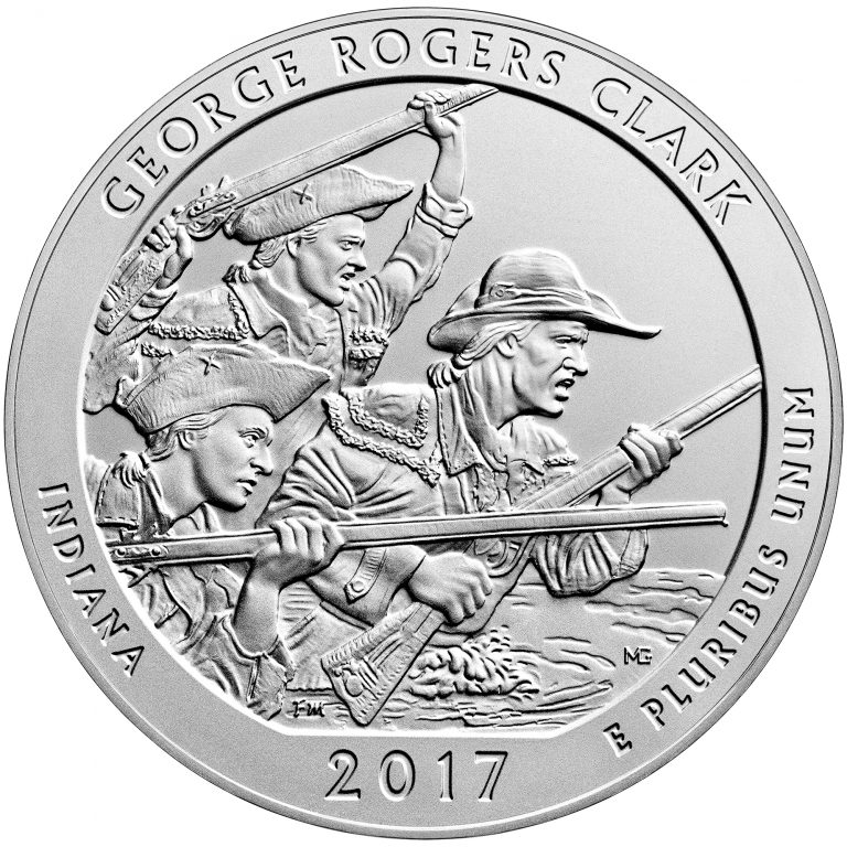 2017 America the Beautiful Quarters Five Ounce Silver Uncirculated Coin George Rogers Clark Indiana Reverse