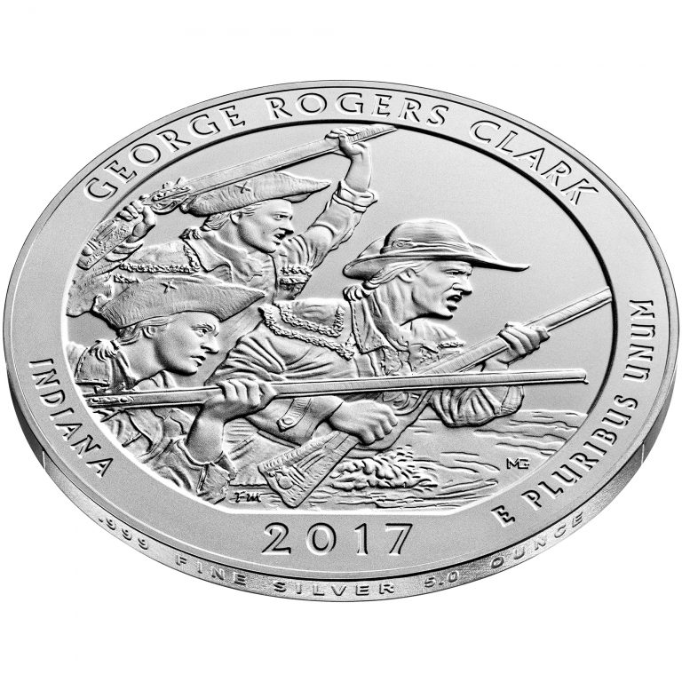 2017 America the Beautiful Quarters Five Ounce Silver Uncirculated Coin George Rogers Clark Indiana Reverse Angle