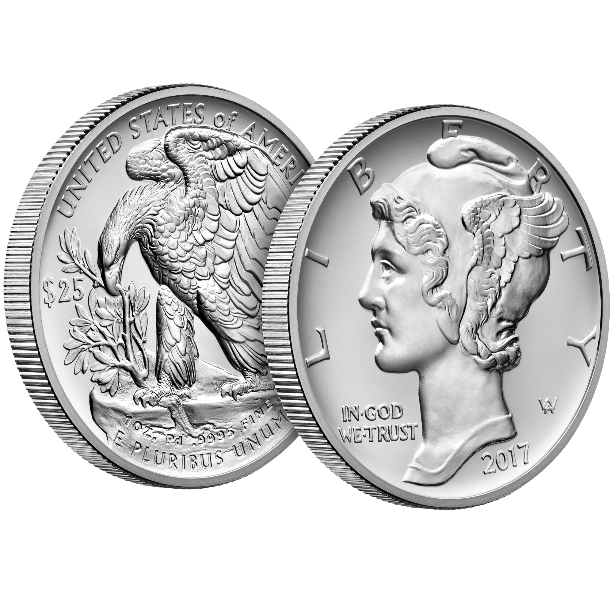 2017 Palladium One Ounce Bullion Coin Obverse-Reverse Angle