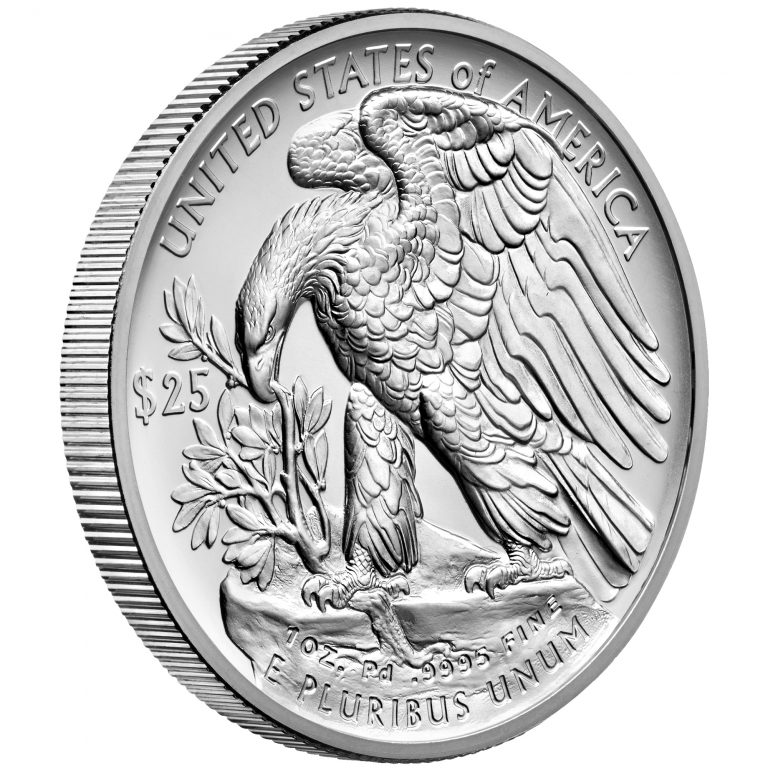 2017 Palladium One Ounce Bullion Coin Reverse Angle