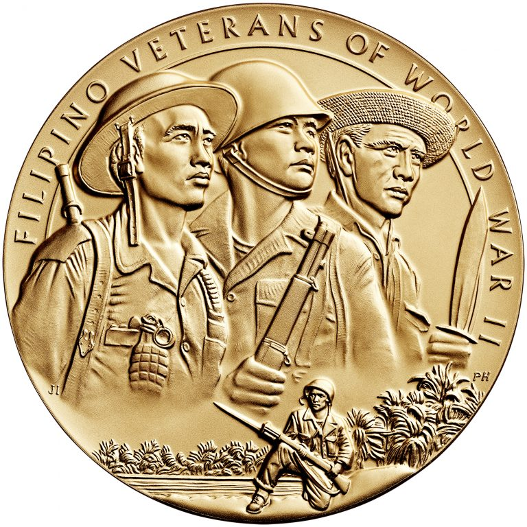 Filipino Veterans World War II Bronze Medal Three Inch Obverse