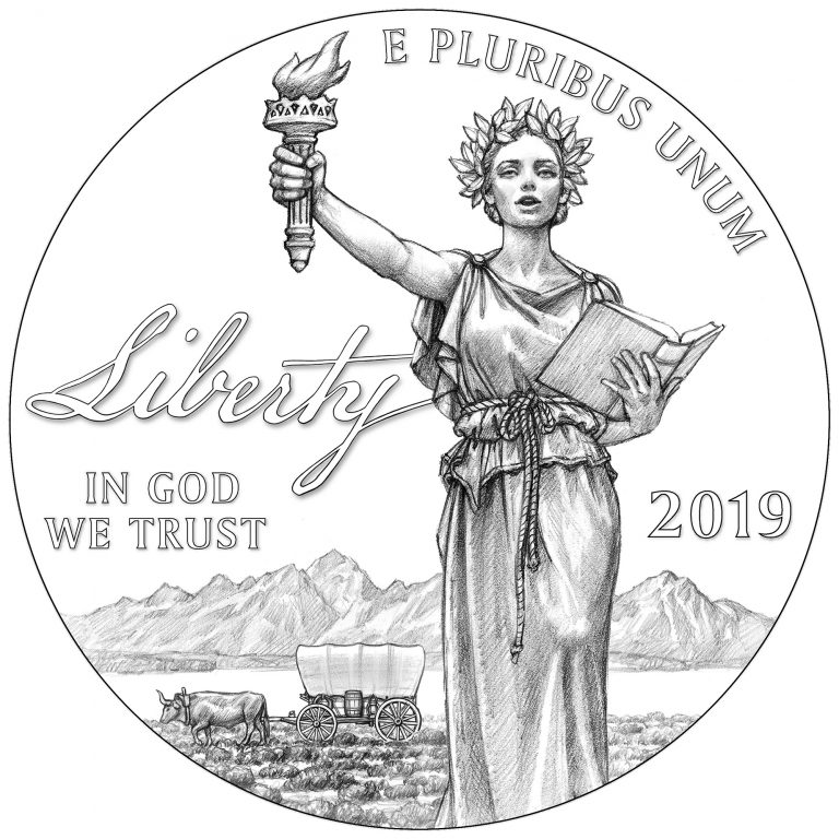 Obverse Line Art for 2019 Preamble to the Declaration of Independence Platinum Proof Coin – Liberty