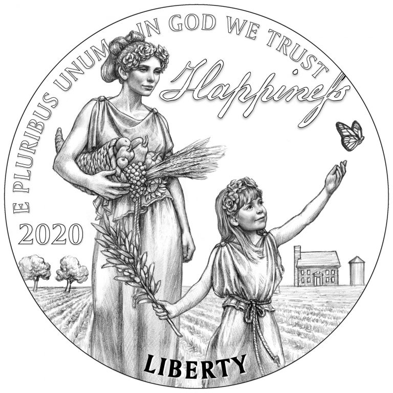Obverse Line Art for 2020 Preamble to the Declaration of Independence Platinum Proof Coin – Pursuit of Happiness
