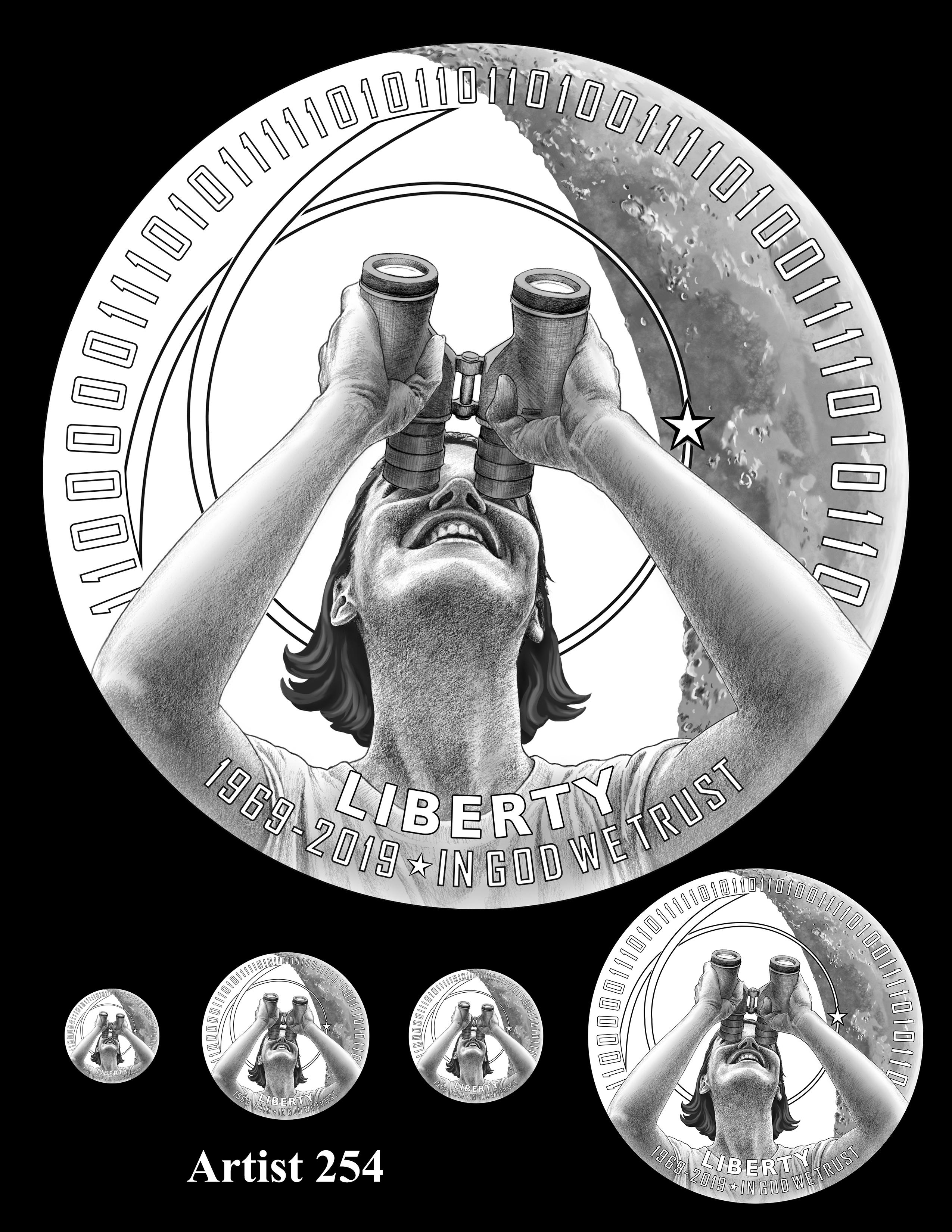 Artist 254 -- Apollo 11 50th Anniversary Commemorative Coin Obverse Design Competition