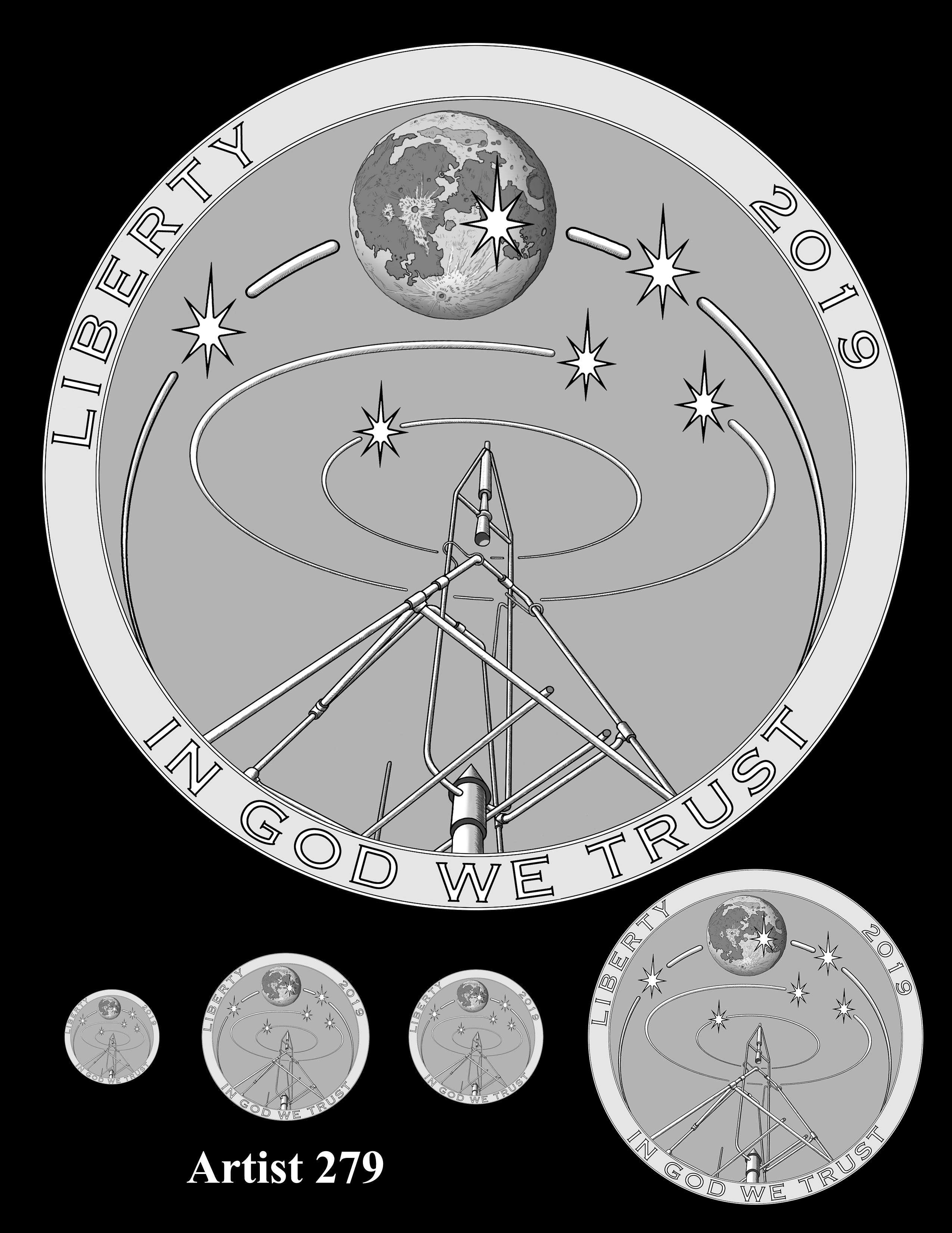 Artist 279 -- Apollo 11 50th Anniversary Commemorative Coin Obverse Design Competition