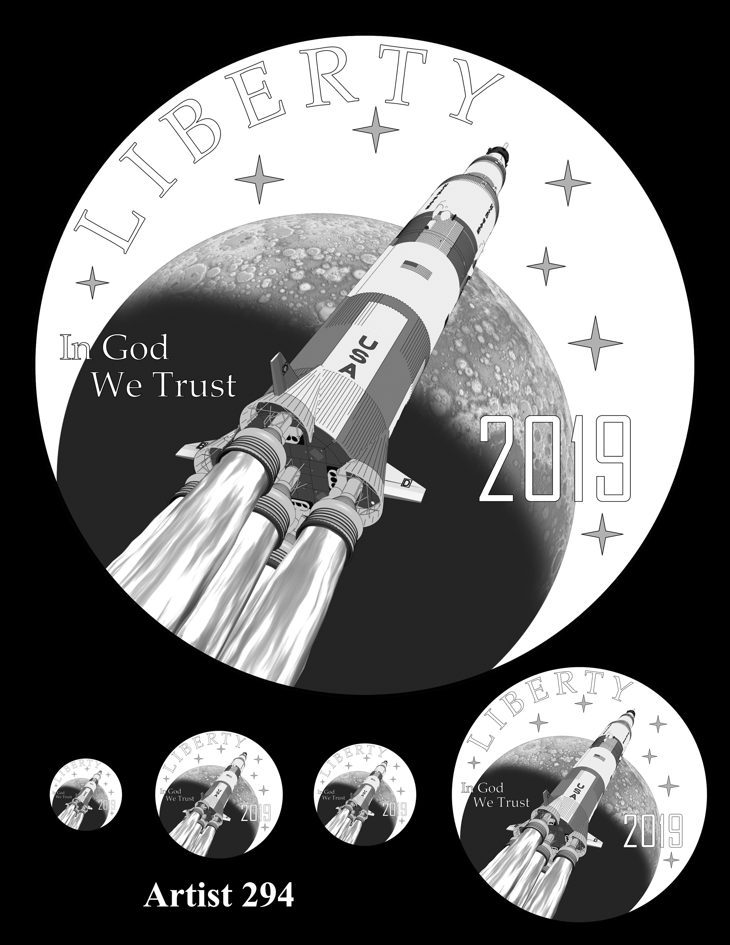 Artist 294 -- Apollo 11 50th Anniversary Commemorative Coin Obverse Design Competition