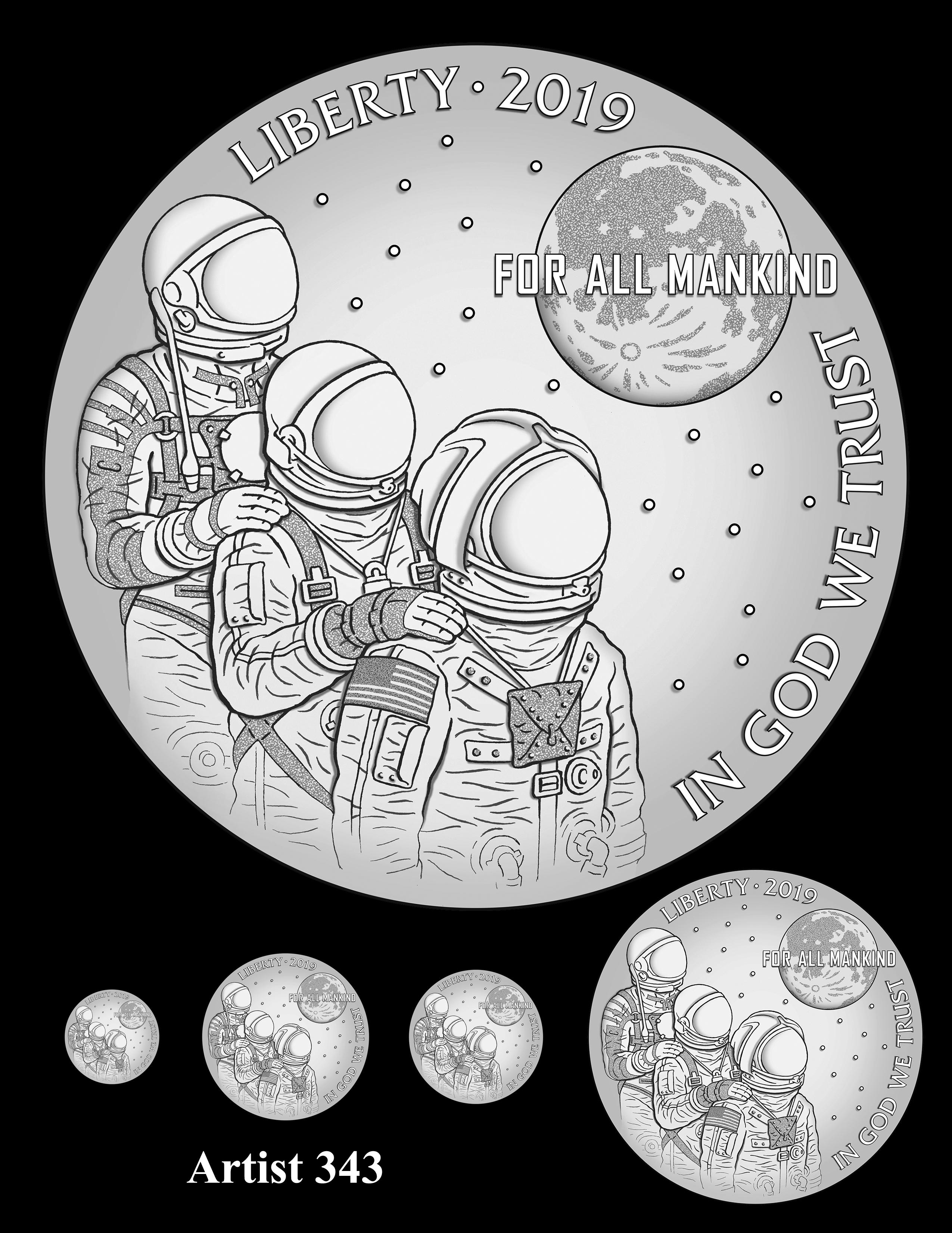 Artist 343 -- Apollo 11 50th Anniversary Commemorative Coin Obverse Design Competition