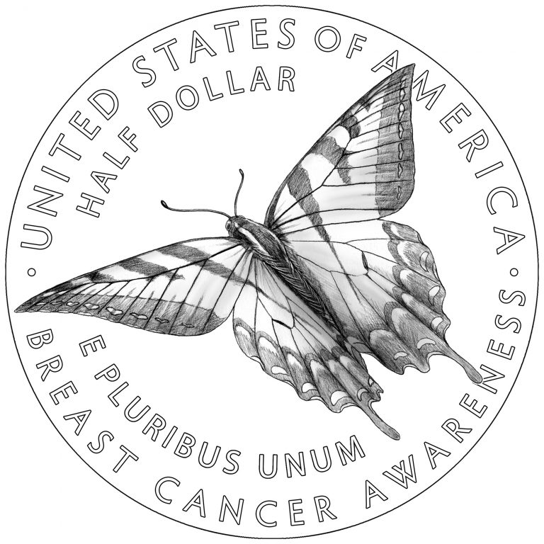 Breast Cancer Awareness Commemorative Clad Line Art Reverse