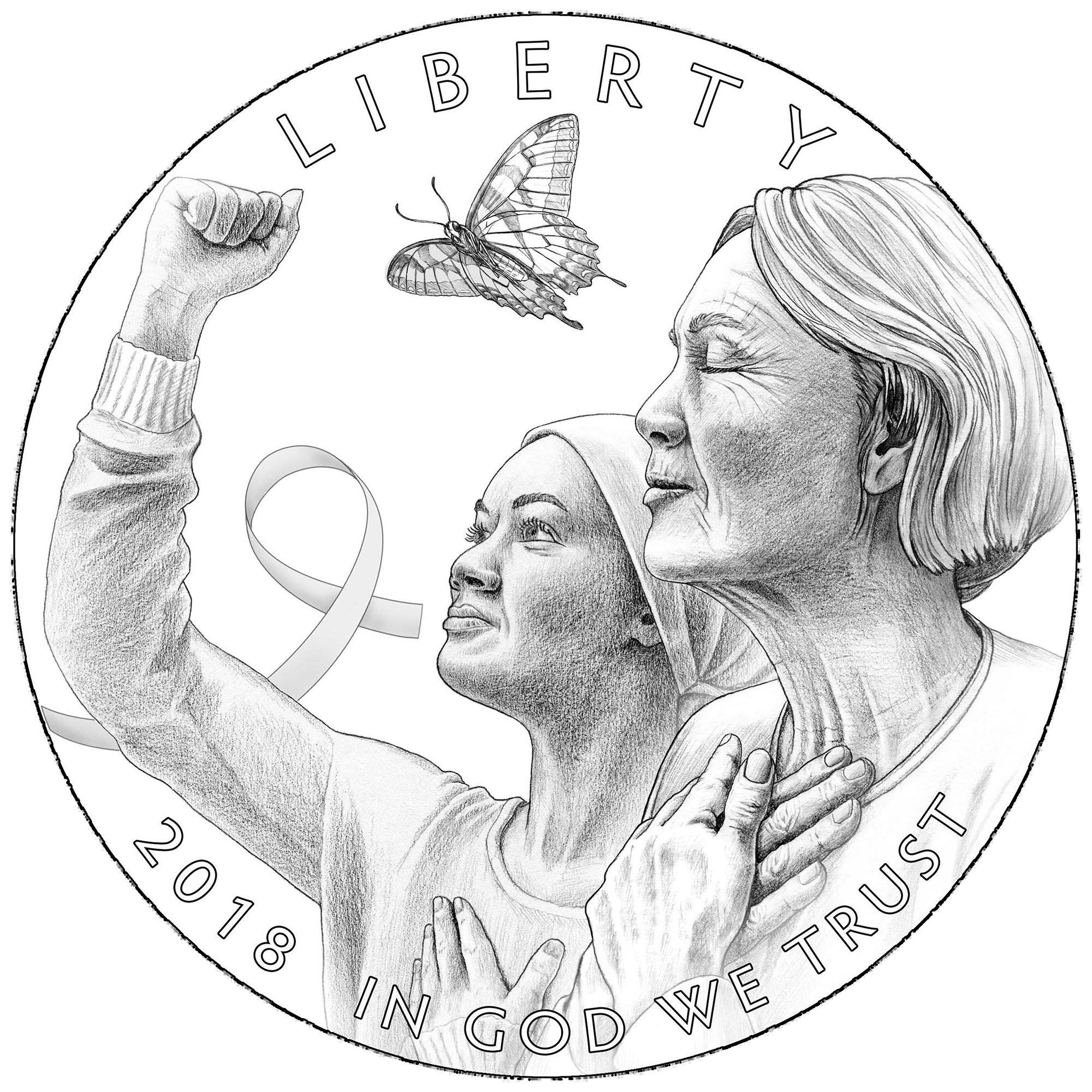 Breast Cancer Awareness Commemorative Line Art Obverse