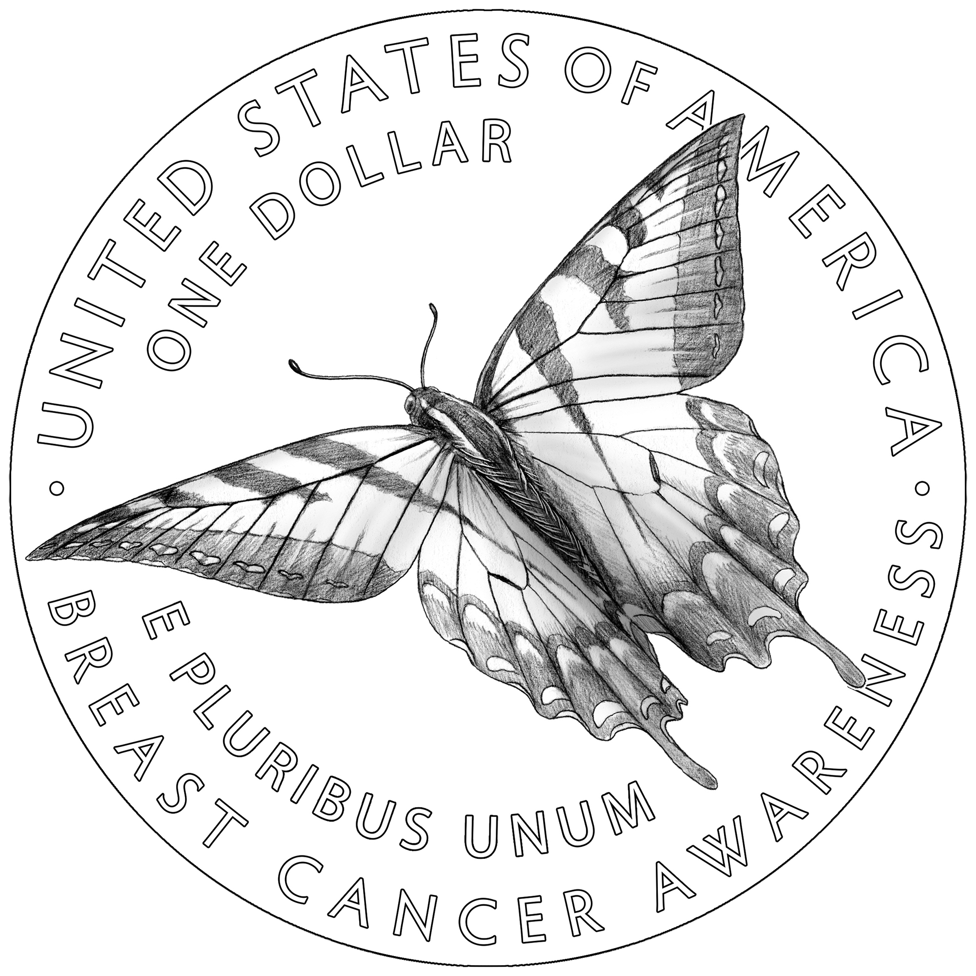 Breast Cancer Awareness Commemorative Silver Line Art Reverse