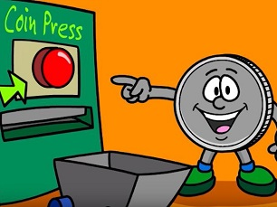 cartoon quarter pointing at a coin press