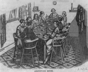 Drawing of women sitting around a table weighing coins on scales.
