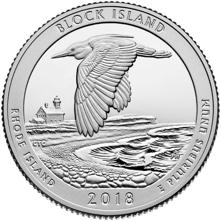 2018 America the Beautiful Quarters Coin Block Island Rhode Island Proof Reverse