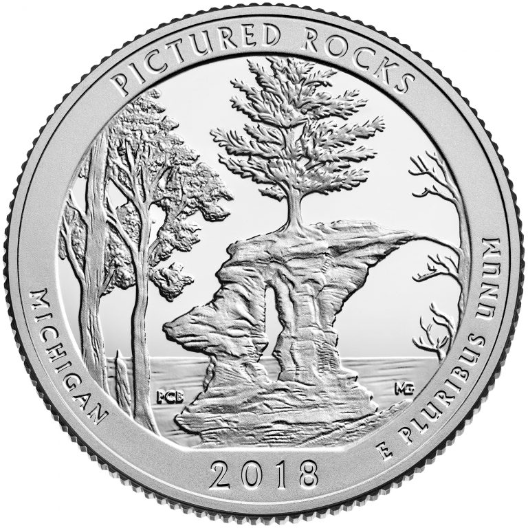 2018 America the Beautiful Quarters Coin Pictured Rocks Michigan Proof Reverse