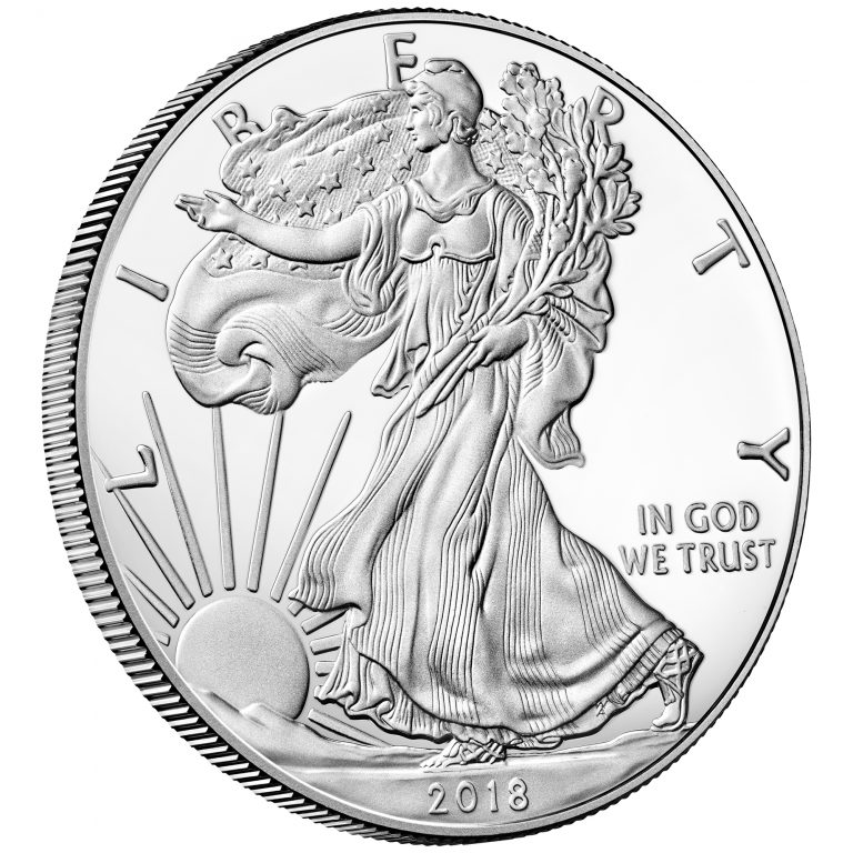 2018 American Eagle Silver One Ounce Proof Coin Obverse Angle