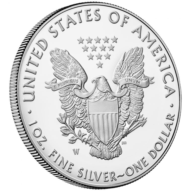 2018 American Eagle Silver One Ounce Proof Coin Reverse Angle