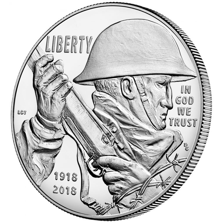 2018 World War I Centennial Commemorative Silver Proof Obverse Angle